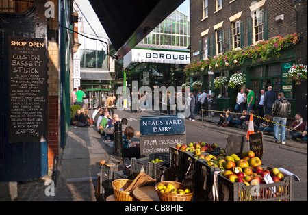 Borough Market a renowned popular international produce retail market and Neal's Yard Dairy London Bridge Southwark - Stock Photo