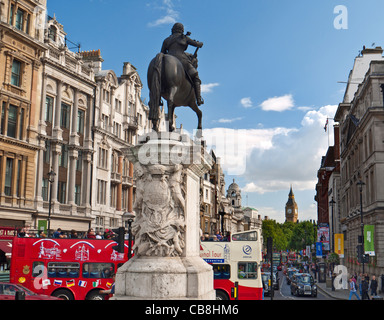 View from Trafalgar Square past statue of Charles I on horseback looking down Whitehall towards Big Ben, Westminster, - Stock Photo