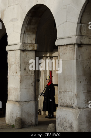 Soldier from the Blues and Royals on sentry duty in Horse Guards, Whitehall, London - Stock Photo