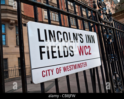 Road sign for Lincoln's Inn Fields the largest public square in City of Westminster London, UK. - Stock Photo