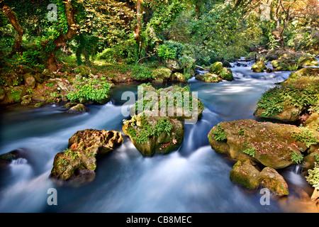 Kalamas river, second largest river of Epirus periphery, close to Lithino village, Zitsa municipality. Ioannina, - Stock Photo