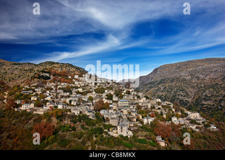 Syrrako village, one of the most beautiful Greek mountainous villages, on Tzoumerka mountains, Ioannina, Epirus, - Stock Photo