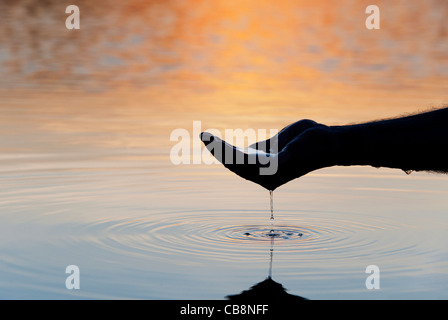 Cupped hand scooping up water in a still lake at sunrise in India. Silhouette - Stock Photo