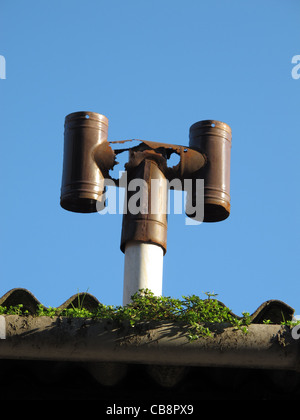 Metal Flue And Chimney With Steel Heating Pipes On Outside