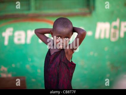 Little Slum Boy Looking At Camera , Lamu Kenya - Stock Photo