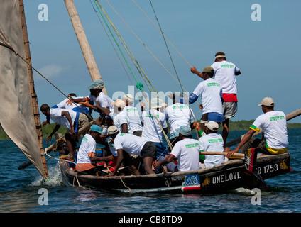 Dhow Race during Maulidi Festival in Lamu Kenya - Stock Photo