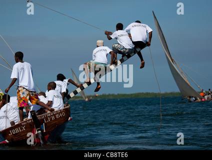 Steerage Of Dhow During The Dhow Race, Maulidi Festival, Lamu, Kenya - Stock Photo