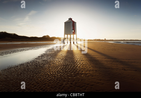 Wooden Lighthouse. Burnham-on-Sea. Somerset. England. UK. - Stock Photo