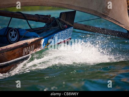 Prow Of Currently Sailing Dhow In Lamu Kenya - Stock Photo