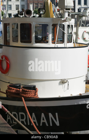Wheel house of the tugboat Adriaan in Maassluis during the Furieade in 2011 - Stock Photo