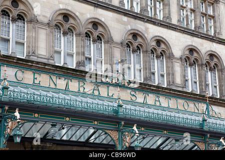 Central Station sign, Glasgow city centre, Scotland UK - Stock Photo