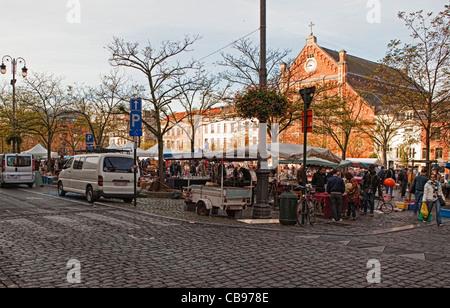 Scene from a Brussels street market - Stock Photo