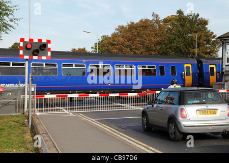 A railway level crossing in Nottinghamshire, England, U.K. - Stock Photo