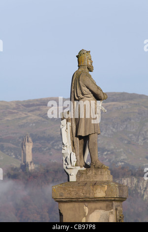 Statue of King Robert The Bruce on the esplanade of Stirling Castle, Scotland, UK - Stock Photo
