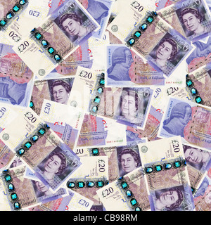 British twenty 20 pound notes sterling overhead view - new design 2011 - Stock Photo