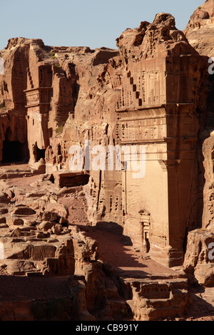 Tombs on the Street of Facades, one of the royal tombs in Petra, Jordan - Stock Photo