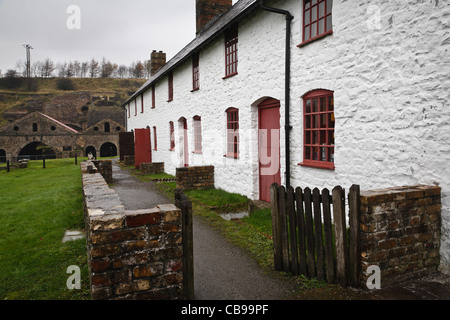 Preserved workers' cottages at Blaenavon Ironworks, Torfaen, Wales - Stock Photo