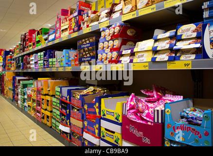shelves in an Aldi store, UK