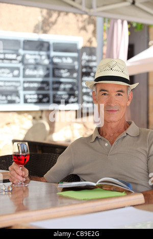 enjoying glass wine - Stock Photo