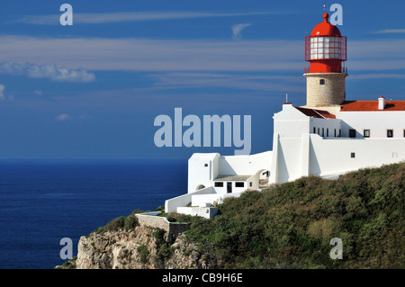 Portugal, Algarve: Lighthouse Saint Vincent at Cabo de Sao Vicente in Sagres - Stock Photo