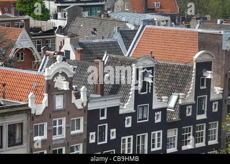 View from the Rooftops to the Keizersgracht channel, Amsterdam, The Netherlands - Stock Photo