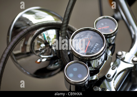 Motorcycle headlamp detail - Stock Photo