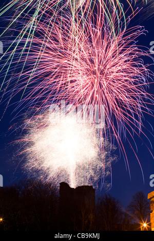 Christmas Market Finale Firework Display over Knaresborough Castle Yorkshire England - Stock Photo