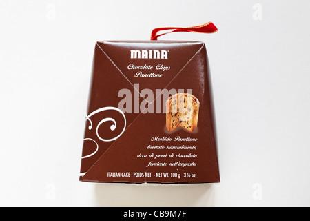 Box of Maina Chocolate Chips Panettone isolated on white background - Stock Photo