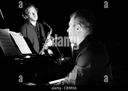 Luca Mannutza and Daniele Tittarelli perform in Monte Compatri (Rome) - Stock Photo