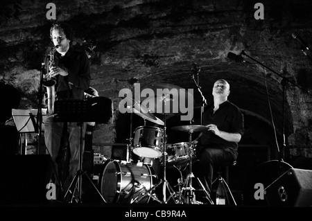 Roberto Gatto and Daniele Tittarelli perform in Monte Compatri (Rome) - Stock Photo