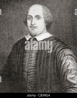William Shakespeare, 1564 - 1616. English poet and playwright. Known as The Stratford Portrait. - Stock Photo