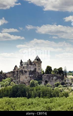 Chateau de Montfort in the Dordogne valley, Vitrac, Dordogne, France, Europe - Stock Photo