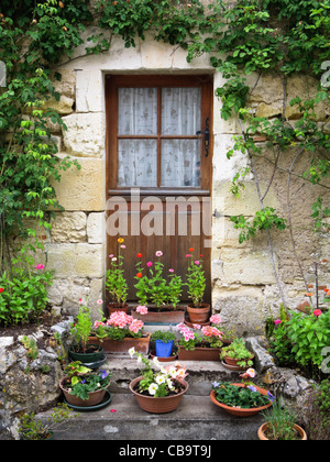 Stable door with flowers in the South of France - Stock Photo