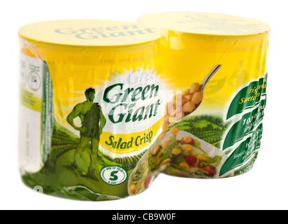 Twin cellophane pack of two tins of Jolly Green Giant salad crisp sweetcorn - Stock Photo