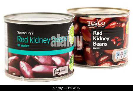 Tesco and Sainsburys tins of red kidney beans in water - Stock Photo