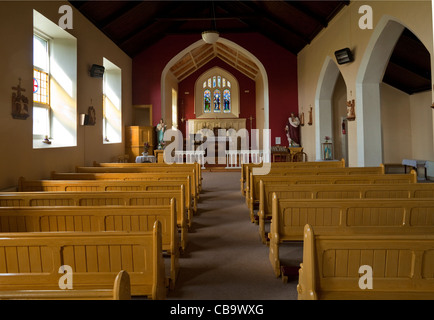Small Church Interior With Pews And Pulpit Empty Chapel