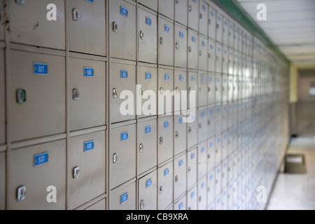 row of mailboxes and mail drop boxes in hong kong hksar china - Stock Photo