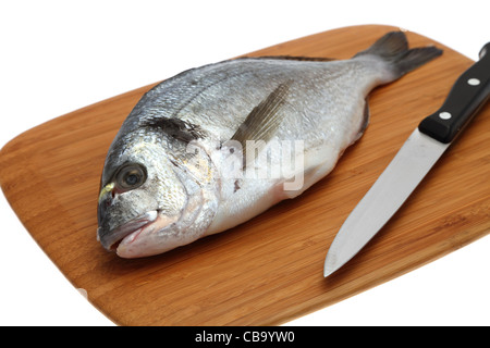 Fresh Gilthead Sea Bream on a wooden cutting board with a kitchen knife - selective focus - Stock Photo