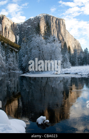 El Capitan along the Merced River in winter, Yosemite National Park, CA. - Stock Photo