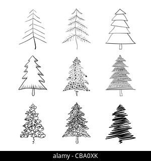 Christmas tree silhouette, set of illustrations. Vector, EPS8. - Stock Photo