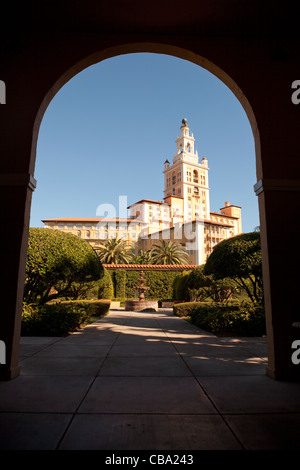 View of the Biltmore Hotel in Miami through archway - Stock Photo