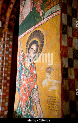 Stunning examples of traditional Ethiopian art cover the walls and ceiling inside Debre Berhan Selassie Church,Gonder, - Stock Photo
