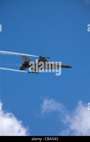 Lockheed Martin F-16 Fighting Hornet at Farnborough International Airshow, July 2010 - Stock Photo
