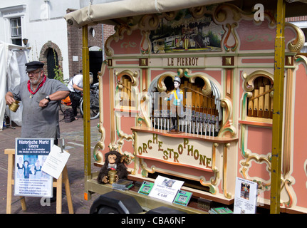 An orchestrophone or fairground organ at a traditional costume market in the town of Veere - Walcheren, Zeeland, - Stock Photo