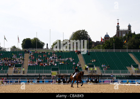 04.07.2011 A general view of the dressage phase of the London 2012 Olympic equestrian test event held in the Royal - Stock Photo