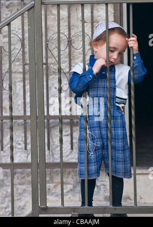 Jewish ultra orthodox child in the ' Mea Shearim' neighborhood in Jerusalem Israel. - Stock Photo