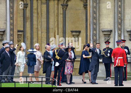 David and Victoria Beckham arriving outside Westminster Abbey for the marriage of Prince William to Kate Middleton - Stock Photo
