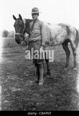 A Great War American cavalry trooper and his mount. - Stock Photo