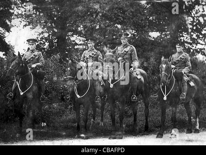 British cavalryman on their mounts during the Great War - Stock Photo