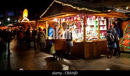 Edinburgh traditional Christmas German Market, The Mound Scotland UK Europe - Stock Photo